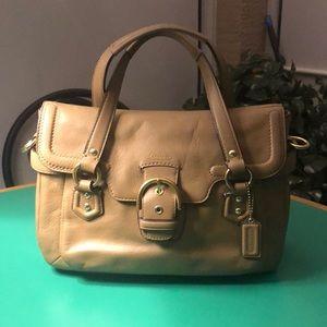Coach Grayish Tan Leather Shoulder Handbag